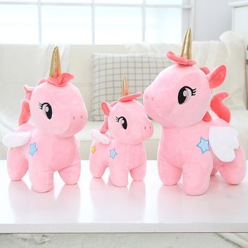 Kawaii Plush Toy Soft Unicorn Doll Appease Sleeping Pillow Kids Room Decor Toy For Children Pupil Christmas Halloween present