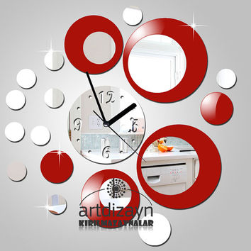 modern red and Shatterproof mirror large wall clock unique clock for gift modern