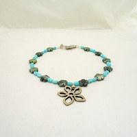 African Turquoise and Larimar Necklace, Trquoise and Larimar Pendant, Flower Pendant, Blue Necklace with Pendant