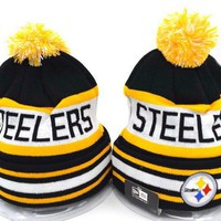 One-nice™ Perfect Pittsburgh Steelers Women Men Embroidery Beanies Winter Knit Hat Cap