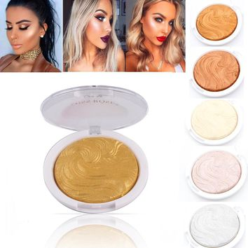 Miss Rose face makeup shimmer highlighter powder 6 color brighten baked bronzer powder contouring makeup palette glow kit MS093
