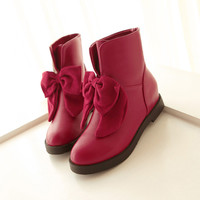 Fashion Bowknot Wedges Short Martin Boots