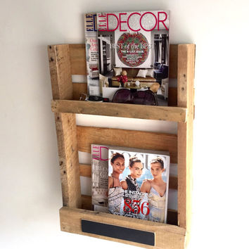Handmade Pallet Wine Rack, Magazine Rack, Chalkboard, Decor, Book Shelf, Reclaimed Wood, Home, Kitchen, Repurposed, Furniture, Holiday