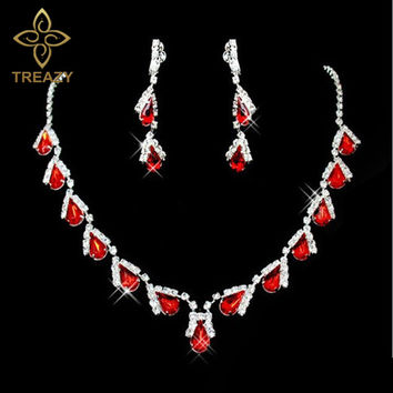 TREAZY Fashion Red Crystal Teardrops Bridal Jewelry Set Necklace Earrings Wedding Bridesmaid Jewelry Set Party Costume