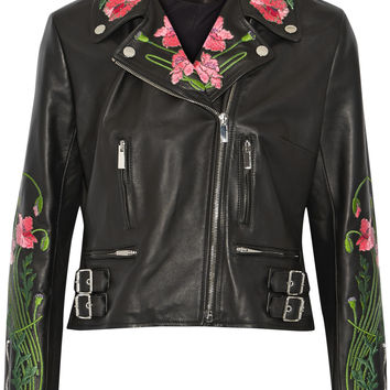 Christopher Kane - Floral-embroidered leather biker jacket