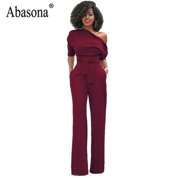 Abasona Off The Shoulder Jumpsuits 2017 Short Sleeve Rompers Womens Jumpsuits Buttons Zippers Bow Belt Long Pants Women Overalls