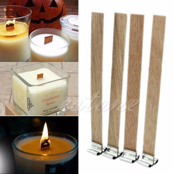 F85  10Pcs 8mm x 90mm Candle Wood Wick with Sustainer Tab Candle Making Supply