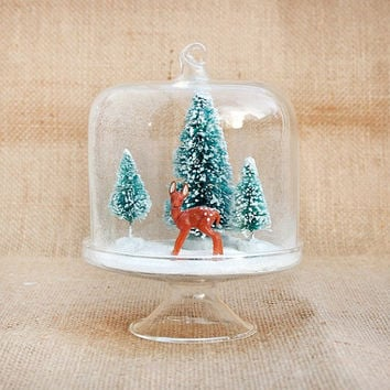 Small Winter Diorama - Water-Less Snow Globe -  Winter Forest with Deer