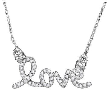 10kt White Gold Womens Round Diamond Cursive Love Pendant Necklace 1-8 Cttw