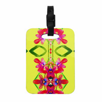 """Dawid Roc """"Tropical Floral Orchids 1 """" Yellow Red Decorative Luggage Tag"""