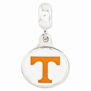 Sterling Silver University of Tennessee Collegiate Enameled Dangle Bead