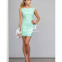 MacDuggal 30070 Aqua Short Cap Sleeve Fitted Dress 2015