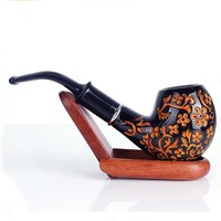 Resin Wood Weed Smoking Pipe Handmade Black/Brown Tobacco Pipe Classic Bent Pipes Cigar Tube As Best Gift