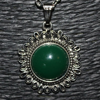 Silver and Green Stone Flower Shaped Pendant Necklace