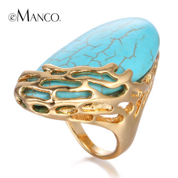 Blue turquoise rings for women zinc alloy hollow ring 2015 gold plated geometric stone ring trendy finger jewelry eManco RG0043
