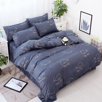 Cool 4pcs/set Lovely Bedding Cover Quilted Quilt 2pcs Pillowcase King Queen Twin Full Size Duvet Cover Air Conditioner BlanketAT_93_12