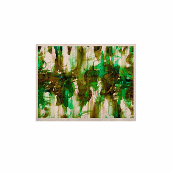 "Ebi Emporium ""White Noise 4"" Green Olive KESS Naturals Canvas (Frame not Included)"