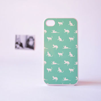 iPhone 4 Case - iPhone 4s Case - Cat iPhone Case in Mint Green - Cute Plastic iPhone Case for Girls - Mint Green iPhone Case