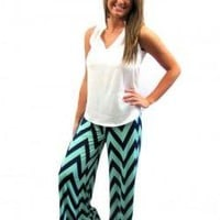 Palazzo Pant in Navy/Mint