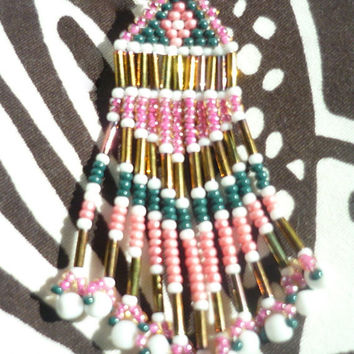 Garden Emerald, White, Golden, and Pinks Patterned Native American Earrings with Fringe in Waves of Pinks