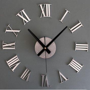 Wall Clock DIY Luxury 3D Wall Clock Large Size Art Clock Silver