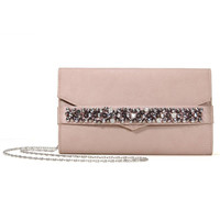 Clutch Bag With Rheinstone In Pale Pink