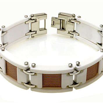 Tri Color White Ceramic and Rose Gold Quality Plated Mesh Men's Designer Bracelet 15mm x 8 1/2 Inches