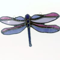 Stained Glass Dragonfly Purple Sun Catcher Free Shipping