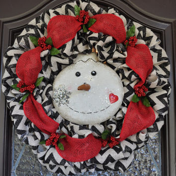 Christmas Wreath, Holiday Wreath, Snowman, Chevron, Holly,
