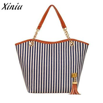 Xiniu Hot Sale Handbag Women Girl Striped Tassel Chain Canvas Shopping Bag Shoulder Bag High capacity Casual Tote bolsa feminina
