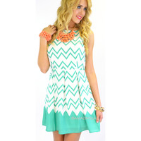 Daphne Dream Mint Chevron Dress