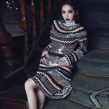 High Quality 2017 New Fashion Complex Hand-Beaded Film Collar Long-Sleeved Casual Warm Sweater Free Shipping Women Flash