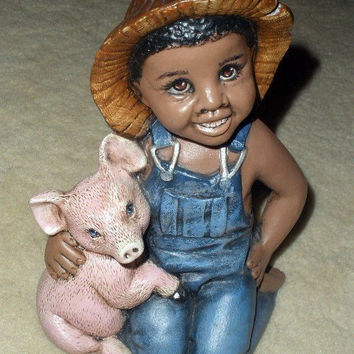 Hand Painted Ceramic African American Boy by PaintedDesignsByLona