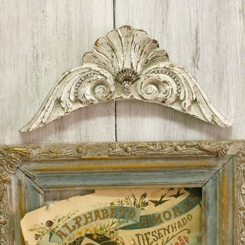 Vintage carved wood Rhinestones headboard