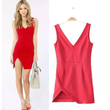 Stylish V-neck Irregular Slim Women's Fashion One Piece Dress [6047615937]