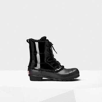 HUNTER ORIGINAL SHEARLING LIND LETHER LACE UP WOMENS BOOTS