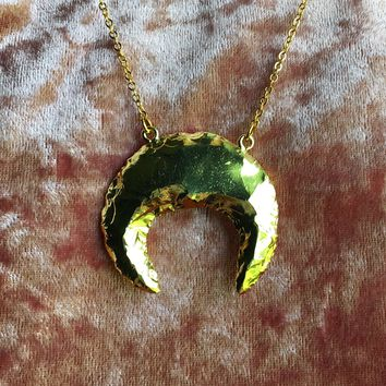 Gold Plated Quartz Crescent Moon Necklace