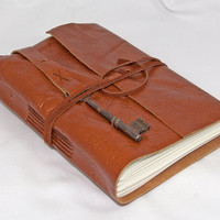 Light Brown Leather Journal with Skeleton Key Bookmark