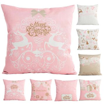 45cmx45cm Pink Milk White Merry Christmas Xmas Decorative Pillows Cover Pillow Case Seat Home Decorative