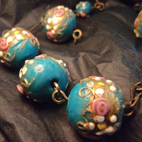 Teal Blue Wedding Cake Necklace, Antique, Brass Bar Link, 20 Inches
