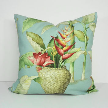 Tropical Decorative Pillow Cover, Blue Cushion Cover, 20 x 20