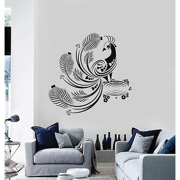 Wall Decal Beautiful Peacock Bird Decoration Rooms Art Vinyl Stickers Unique Gift (ig2901)