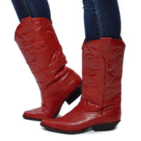 Vintage 80s J West Hot Red Glam Rocker Country Western Cowgirl Boots Sz 7.5M