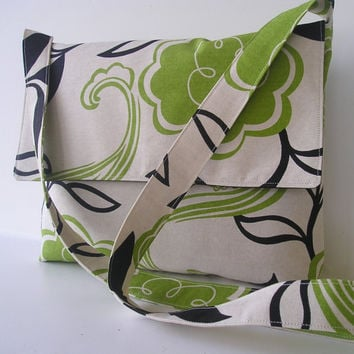 Messenger Bag in Green and Black Floral by jazzygeminis on Etsy