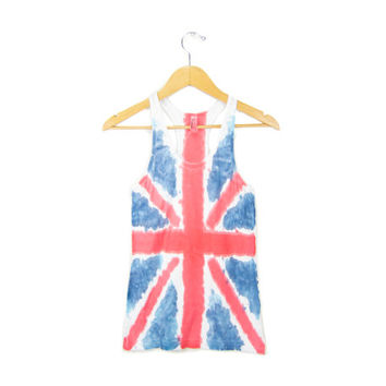 "Union Jack - ""Splash Dyed"" Hand PAINTED British Flag Scoop Neck Racerback Vest Tank Top in Red White and Blue - Women's XS S M L"