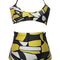 Yellow and Black Abstract Print High Waisted Two Piece Swimsuit