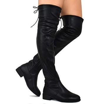 Premier Standard - Women's Fashion Comfy Vegan Suede Block Heel Side Zipper Back Lace Thigh High Over The Knee Boots, TPS Boots-51Aipmylo v2 Black Size 7