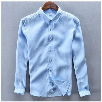 Italy Style 100% Linen men Shirt Long Sleeve Breathable Turn down Collar shirt men brand clothing camisa shirts chemise homme