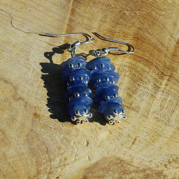 Blue Kyanite Stone Earrings ~ Natural Stones ~ Ice Blue Semi Precious Stones ~ Bohemian Style ~ Healing Chakra Stones ~ Boho Blue ~ Unique