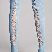 Denim Lace-Up Stiletto Boots